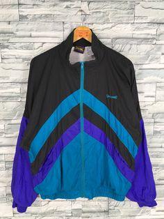 5a2328ae27dc1 Vintage 90's SPALDING Windbreaker Jacket Large Unisex Sportswear Spalding  Multicolor Windrunner Spalding Activewear Zipper Jacket Size L