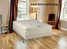 """Spring Solution 10"""" Pillowtop Fully Assembled Othopedic Mattress and Box Spring, Full Size  Orthopedic Type mattress  Fully assembled mattress and box Spring are ready to use  Gentle firm pillow Top mattress  Innerspring mattress with 357 vertical unit for the perfect blend of support & comfort  Mattress & box Spring have white & gold fabric"""