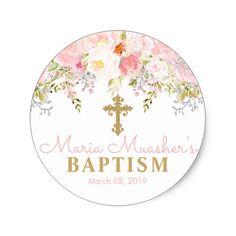 Shop Rose Garden Girl Baptism God Bless Ceramic Ornament created by ZoeyBlueDesigns. Personalize it with photos & text or purchase as is! Christening Favors, Baptism Favors, Baptism Themes, Baptism Candle, Baptism Party, Baptism Ideas, Baptism Gifts, Baby Girl Baptism, Custom Stickers
