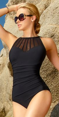 Magicsuit Mesh and Lace Anastasia High Neck Swimsuit 368268-BLK