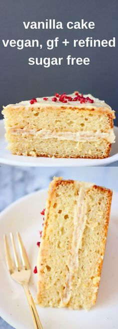 This Gluten-Free Vegan Vanilla Cake has a moist and fluffy refined sugar free sponge, covered in a silky cashew buttercream. Perfect for birthdays, Easter, Mother's Day, baby showers, weddings, and anything else in between! #vegan #glutenfree #dairyfree #refinedsugarfree #cake #birthday #vanilla #plantbased #dessert #eggfree #buttercream