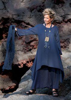 Pure linen vibrant blue Elke Tunic with flared sleevesDark blue linen sarouel skirt
