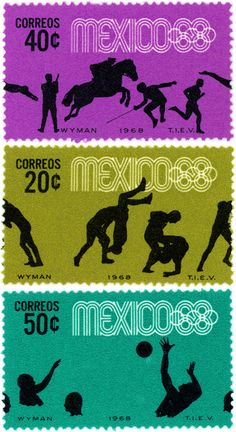 Mexico 1968 Olympics Official Stamps - Lance Wyman, Beatrice Colle, Jose Luis Ortiz, Jan Stornfeld