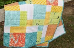 Disappearing 9 Patch, Spring Baby Quilt  Tutorial here: http://sew-fantastic.blogspot.com/2009/09/disappearing-nine-patch-tutorial.html