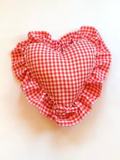 Excited to share this item from my #etsy shop: Decorative pillow, Red gingham heart pillow, handmade  repurposed home decor, bedroom, living room, decorative pillow , throw pillow