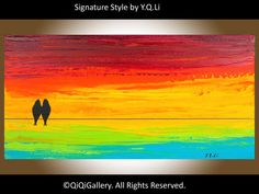 Hand Paint lovebirds acrylic painting Wall decor by QiQiGallery