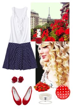Red and blue by lj-case on Polyvore featuring polyvore, fashion, style, Merona, Repetto, Blue Nile, Topshop and clothing