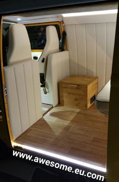 Late bay 1979 VW Campervan. Check out those bespoke bulk head sections. Customer wanted rounder curves on the panels. This night photo also displays all the LED mood lighting.