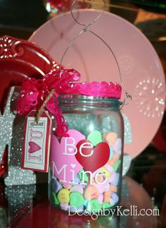 Cute Valentine's decor, decorating ideas, vinyl decals, lettering and craft projects! Valentine's mason candy jar!