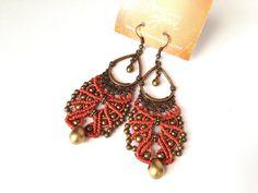 Hippiechic romantic peach handwoven earrings par creationsmariposa, $22.00
