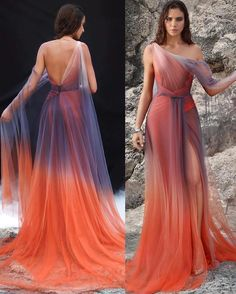 """Loving Haute Couture on Instagram: """"#OmbreDress 💜🧡 1, 2, 3, 4 or 5? By @hassidriss_official"""" Ball Dresses, Ball Gowns, Prom Dresses, Fantasy Gowns, Fairytale Dress, Beautiful Gowns, Look Cool, Dream Dress, Pretty Dresses"""