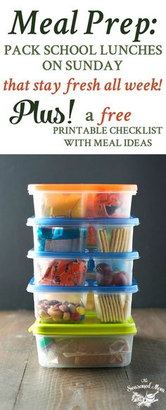 Learn the easy way to meal prep: pack school lunches on Sunday that stay fresh all week! PLUS, a free printable checklist with lunch ideas! #ad
