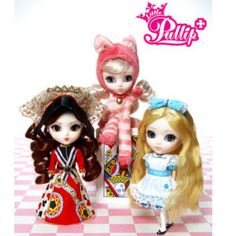 Little Pullip Dal dolls, Alice, The Red Queen, Cheshire Cat ... want blue alice (& theres a pink one too)