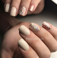 Elegant Nail Design with Glitter and Rhinestones