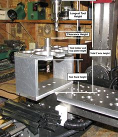 Automatic Mill Tool Changer by Daniel Kemp -- Homemade automatic mill tool changer constructed from a power drawbar, a tool holder and rack, solenoid valves and switches, and electronics. http://www.homemadetools.net/homemade-automatic-mill-tool-changer