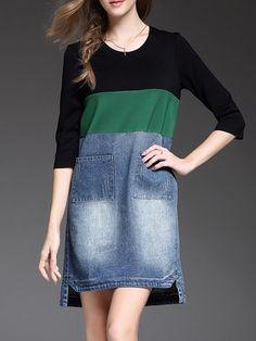 Shop Midi Dresses - Plain High Low Half Sleeve Paneled Casual Midi Dress online. Discover unique designers fashion at StyleWe.com.