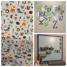 Nursery ideas.  The peg board is very cool! #animals #blue #green #letter #wall