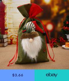 Santa Claus Snowman Christmas Gift Bag Candy Present Wrap Drawstring Sack