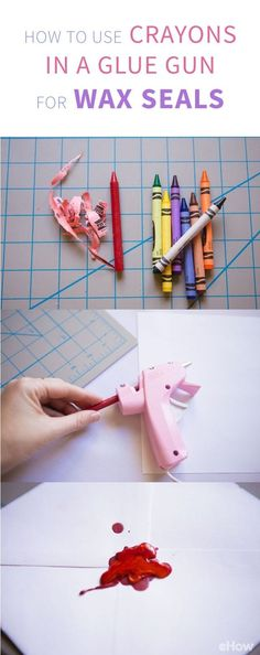 How to Use Crayons in Glue Guns for Wax Seals is part of Hot Glue Gun crafts - Letter writing is becoming a lost art So why not bring it back with a little flair Use crayons and a glue gun to make an old fashioned wax seal for your letters Glue Gun Projects, Glue Gun Crafts, Diy Projects, Diy 2019, Diy Wax, Paper Crafts, Diy Crafts, Decor Crafts, Diy Papier