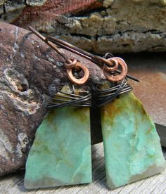 Chrysocolla Earrings Copper Wire Wrap Rustic Jewelry Natural Edge Slab Primitive Handmade One of a Kind