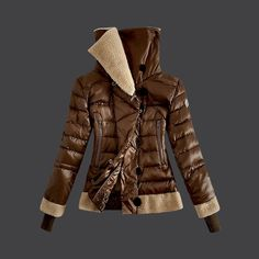 2013 New! Moncler Women Down Jacket Double Stand Collar Coffee
