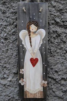 Christmas Rock, Christmas Angels, Christmas Projects, Tole Painting, Painting On Wood, Angel Artwork, Angel Drawing, Angel Crafts, Christmas Paintings