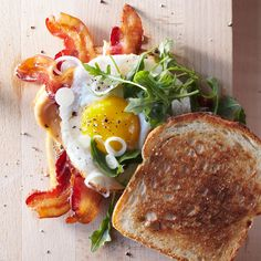 Bacon and Egg Sandwiches with Pickled Spring Onions.