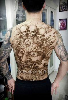 Backpiece Tattoo, Skull Tattoos, Body Art Tattoos, Sleeve Tattoos, Japanese Demon Tattoo, Armour Tattoo, Samurai, Foo Dog Tattoo, Full Back Tattoos