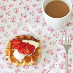 Liege Waffle with Lemon Yogurt and Strawberries