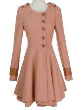 Pink Round Neck PU Button Flare Hem Woolen Coat $72.9 can I get this in something other than pink??