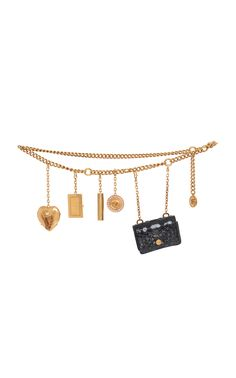 Shop Versace Gold Chain Belt from stores. This *Versace* belt is rendered in brass and vernished python. It features a gold chain construction and playful accent charms. Versace Chain, Versace Belt, Cute Jewelry, Jewelry Accessories, Cute Disney Quotes, Trendy Sandals, Versace Fashion, Cross Chain, Gold Belts