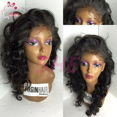 Glueless Full Lace Human Hair Wigs For Black Women Loose Curly Wave Lace Front Human Hair Wigs Brazilian Virgin Hair Lace Wig Online with $72.88/Piece on Sheladyhouse's Store   DHgate.com