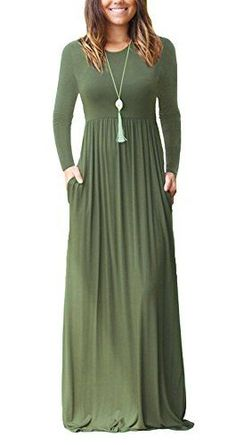 b7817c9ea75 GRECERELLE Women s Long Sleeve Long Maxi Dresses Plus Size with Side Pocket  Army Green-L