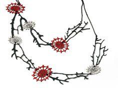 Katrina Tyler: 'Coral and Seafan': neckpiece (red): Oxidised mild steel, enamel, oxidised sterling silver.