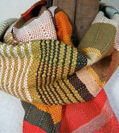 Handwoven Scarves by PidgePidge. Like the mix of colors.