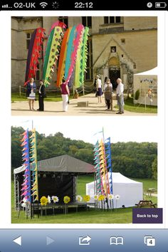 Festival wedding stage with flags - awesome!