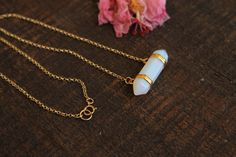 Double Point Opalite Pendant Necklace. 14K Gold Filled Opalite Pendant Necklace. by EveilleJewelry on Etsy