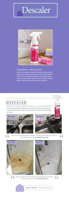 Norwex #Descaler is a highly-effective and environmentally-friendly product for heavy-duty #cleaning and removal of calcium, lime and rust stains. Most descalers are dangerous chemical acids that can burn surfaces and damage the environment while they try to break down mineral stains.