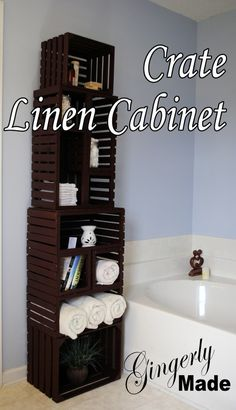 We took 6 old crates to make this linen cabinet for our master bath. We removed and replaced some of the slats to open it up, painted it, and pieced the crates… Old Crates, Wooden Crates, Wine Crates, Home Projects, Home Crafts, Diy Home Decor, Wood Crate Shelves, Diy Tumblr, Ideas Para Organizar