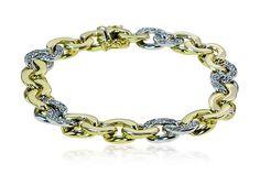 40 Diamonds  on this White Gold Bracelet  Massives Weissgold-Gelbgold-Armband mit 40 Diamanten