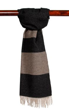 The Portland Collection Fringed Scarf Banded Black