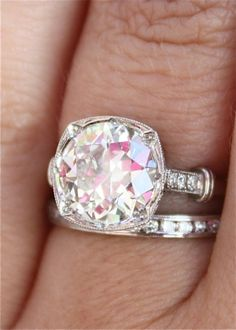 Single Stone Vintage Inspired Diamond Engagement Ring
