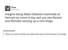"""What helps Obama unwind? Michelle Obama's arms.  *cue laughing from everyone in the Skype*""- I AM WILDCAT"