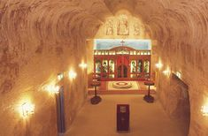 The underground Serbian Church in Coober Pedy, South Australia. Carvings by Norman Aston. South Australia, Australia Travel, Coober Pedy Australia, Cave Hotel, Underground Cities, Underground Living, Great Wall Of China, Largest Countries, Serbian