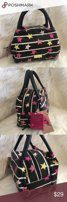 Betsey Johnson bag lunch tote insulated stars Betsey Johnson insulated lunch tote satchel NWT  Black with white stripe and pink stars Zipper top Inside is lined with silver insulation Two handles 9 x 6 x 6   #smokefree #betseyjohnson #luvbetsey Betsey Johnson Bags Satchels