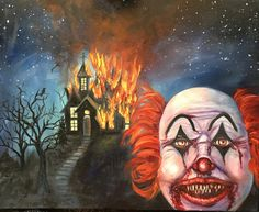Clown oil painting on canvas