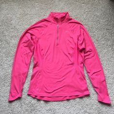 NWOT Nike pink pullover sz med Pretty pink dri fit long sleeve 1/4 zip up ! Super soft nylon/ spandex fabric! Never worn ! Nike Tops Tees - Long Sleeve