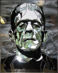 Frankenstein's Monster Stained Glass by The Glass Kats (Dan Lee of Nordic Glass Designs, Sacramento, CA)