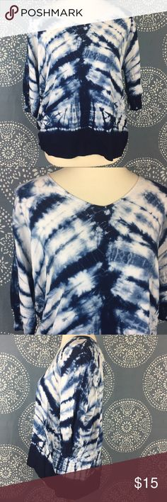 """Chelsea & Theodore Navy Tie Dye Top Cute navy blue and white tie dye top. It has 3/4 sleeves and is in great used condition. Loose fit. 23"""" armpit to armpit and 25"""" long. Chelsea & Theodore Tops"""