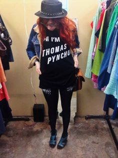 I need this shirt in my life.maybe with a paper bag with a question mark on it. Thomas Pynchon, Literary Fiction, Question Mark, Who What Wear, Fashion Styles, Writers, This Or That Questions, Paper, Bag